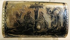 Russian Silver Niello Cigarette Box 18th Century