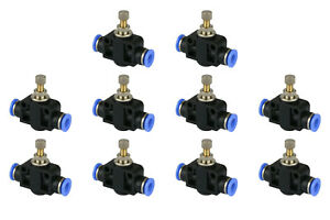 10x Temco Pneumatic Speed Flow Control Valve Straight 1 4 Od Air Push Fitting