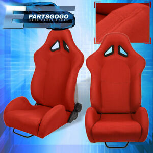 For Dodge Car Auto Truck Suv Jdm Vip Reclinable Bucket Seat Chair Cloth Kit Red