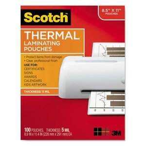 Scotch Letter Size Thermal Laminating Pouches 5 Mil 8 1 2 X 1 051141394961