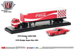 M2 Machines Auto Hauler Coca-Cola 1970 Dodge L600 COE & 1970 Dodge Super Bee 383