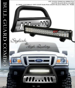 Matte Blk Hd Bull Bar Grill Guard skid 120w Cree Led Fog Light 98 11 Ford Ranger