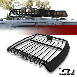 Universal Blk Roof Rack Cage Basket Travel Luggage Holder Top Tray W fairing G26