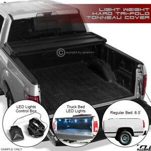 1988 2000 Chevy C k C10 Silverado 6 5 Tri fold Hard Tonneau Cover Lw led Lights