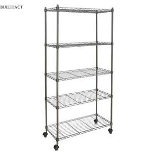 5 Tier Commercial Wire Shelving Rack 29 x14 x62 Adjustable Metal Rack W Caster