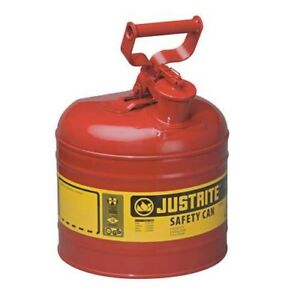 Justrite 7120100 2 Gallon Red Steel Safety Can