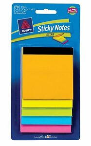 Avery Steps Sticky Notes Bold Neon Colors Multiple Sizes 150 Sheets 22592