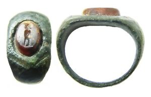 3rd Century A D Roman Bronze Carnelian Intaglio Ring Of A Standing Figure