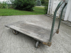 Vintage wooden Cart warehouse factory platform hand coffee Table push webster