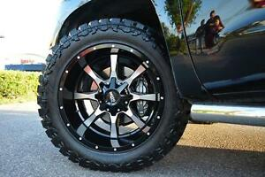 Mo970 17x9 Black Machined Wheels Rims Mt Tires Package 8x6 5 35 Dodge Ram Chevy