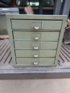Older Green Kennedy Bench Top Parts Cabinet With Dividers Heavy Duty Lot A