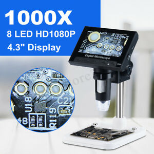 4 3in Lcd 1000x Desktop 8 Led Digital Microscope Endoscope 1080p Hd 2mp Camera