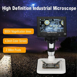1000 X 2 0mp Magnifier Usb Digital Electronic Microscope 4 3 Inch Lcd Display