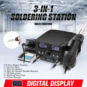 3 in 1 Lcd Solder Station Soldering Iron Desoldering Rework Hot Air Heater Tool