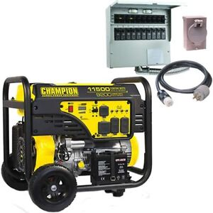Champion 100110 9200 Watt Electric Start Portable Generator carb W 50 am