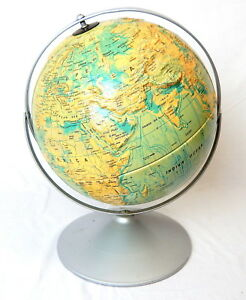 Vintage Nystrom 12 Sculptural Relief World Globe Tabletop W Base 2 Axis