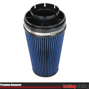 Blue 4 Inlet Cold Intake High Flow Round Cone Air Filter For Gmc Chevy