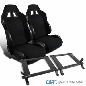 05 14 Mustang Black Cloth Pvc Racing Seats Bucket tensile Steel Mount Brackets