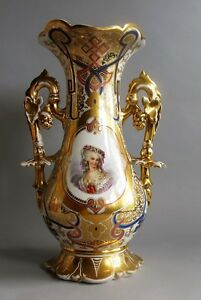 Large 17 Hand Painted 19th C French Old Paris Porcelain Vase C 1850 Antique