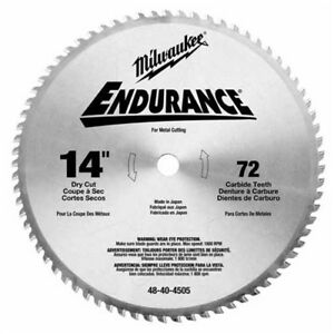 Milwaukee 48 40 4505 Circular Saw Blade 14 72 Tooth Dry Cut Carbide Tipped
