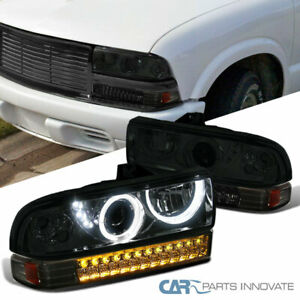 98 04 Chevy S10 Blazer Smoke Led Projector Headlights Tinted Led Bumper Lamps