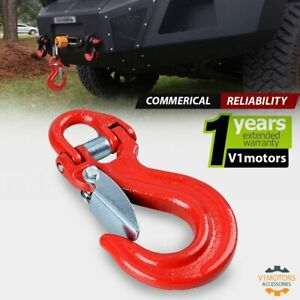 Red Half Link Winch Hook Clevis Safety Latch Swivel For 1 2 3 8 Synthetic Rope