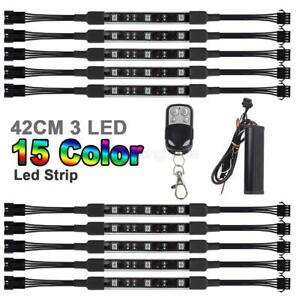 10pc Car Motorcycle Lighting Light Strip Kit Led Multi Color W Remote Controller