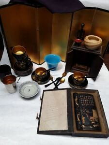 Japanese Chinese Vintage Antique Group Lot Screen Lacquer Peking Glass Shunga