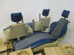 Na Quality Lot Of 3 Blue Orthodontic Exam Chairs W Cuspidor Cabinets