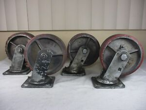 Vintage 6 X 2 Heavy Duty Metal Swivel Casters Wheels With Poly Tread Set Of 4