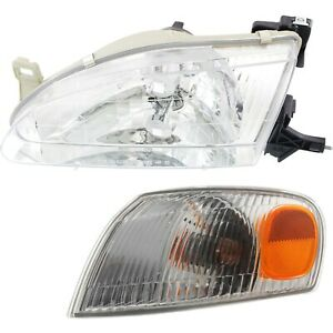 Headlight Kit For 98 2000 Toyota Corolla Left 4 door Sedan 2pc