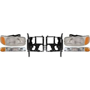 Headlight Kit For 99 2002 Gmc Sierra 1500 Sierra 2500 Left And Right 6pc
