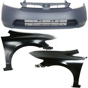 Bumper Kit For 2006 2008 Civic 4 Door Sedan Front Bumper Cover And Fender 3pc