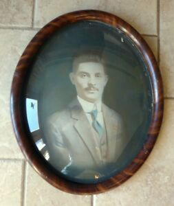 Vintage Convex Bubble Glass Tiger Wood Frame With Picture