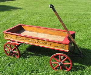 Antique 1915 Chicago Auto Wheel Coaster Stencil Childs Wood Wagon W Brake