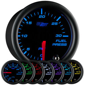 52mm Glowshift Black 7 Color Led 30 Psi Diesel Fuel Pressure Gauge W Sender Unit