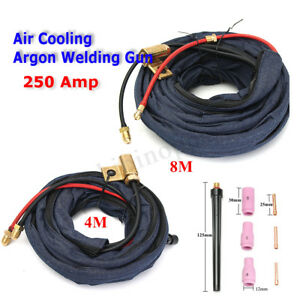Tig Welding Torch Gas Lens Cutting Kit Parts 8m 4m 250amp Cable Hose For Wp20