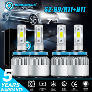 4x H11 h9 h8 Combo Led High low Beam Headlight Fog 6500k For 07 18 Nissan Altima