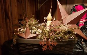 Primitive Handmade Winter Christmas Lighted Stars Bells And Snowflakes Basket