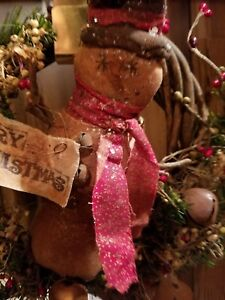 Primitive Handmade Merry Christmas Snowman Wreath