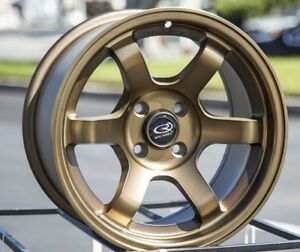 15x8 Rota Grid Concave 4x100 20 Full Royal Sport Bronze Wheels New Set