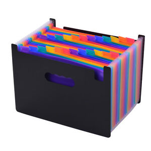 12 24 Pockets File Folder Organizer Expanding Filing Cabinet Accordion A4 J2t1