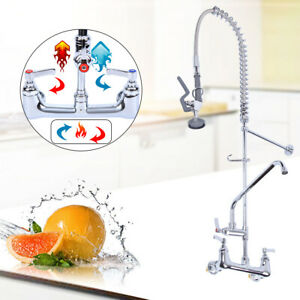 12 Commercial Wall Mount Kitchen Pre rinse Faucet W Add on Tap Restaurant