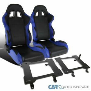 79 98 Ford Mustang Black Blue Pvc Leather Racing Seats base Bucket Mount Bracket