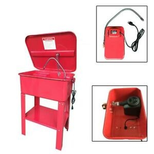 Red Parts Washer 20 Gal Auto Garage Large Parts Duty Electric Solvent