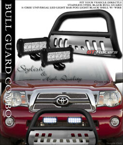 For 05 15 Toyota Tacoma Matte Blk Bull Bar Guard W skid 36w Cree Led Fog Lights
