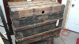 Antique Wood 1800 S Trunk Coffee Table Size Ready To Finish Solid Oak