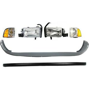 Bumper Cover Corner Light Headlight For 94 2002 Dodge Ram 2500 Kit Front
