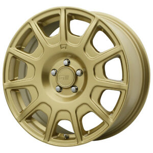 4 new 15 Inch 15x7 Motegi Mr139 5x100 15mm Gold Wheels Rims
