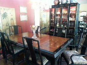 Mid Century Furniture Chin Hua Dining Set Oriental Asian China Cabinet Sobota